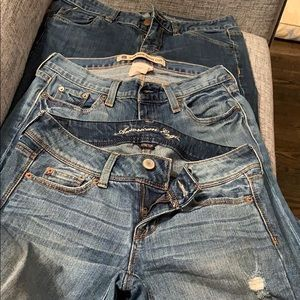 4 LONG - 3 pairs of jeans. Gap, AE & Mossimo